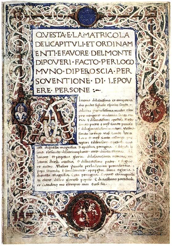 """Livre du """"Monte di Poveri"""" de Pérouse"""