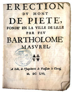 LEs statuts de la fondation Masurel. Edition de 1656