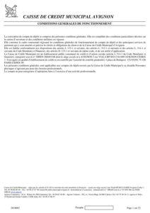 Convention de compte particuliers