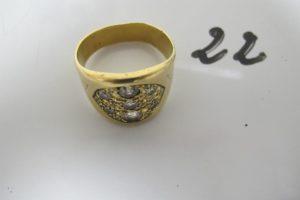 1 Bague d'homme en or pavée de 13 diamants (td75).PB 21,8g