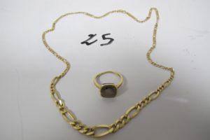 1 Collier en or maille alternée en dégradé(L 45cm), 1 bague en or ornée d'une pierre marron(td51). PB 5,8g