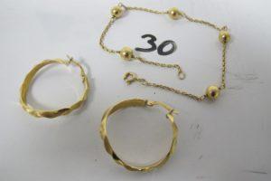 1 Bracelet en or maille boule (L21cm),2 créoles en or torsadées(D2,5cm).PB 5g