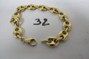 1 Bracelet en or maille grains de café (L20,5cm).PB 21,7g