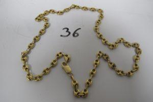 1 Collier en or maille grains de café (L52cm). PB 22,1g