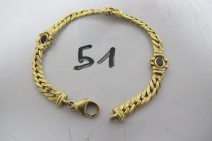1 Bracelet en or maille anglaise(abimée)ornée de pierres bleues cabochon(L18cm) PB 11,5g