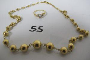 1 Collier en or maille boule en chute (1boule légerement abimée)(L45cm), 1 bagueen or rehaussée d'une pierre bleue(TD54)PB 16,6g