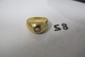 1 Bague jonc en or rehaussée d'un diamant de 0,20 ct env taille ancienne (td55).PB 9,3g