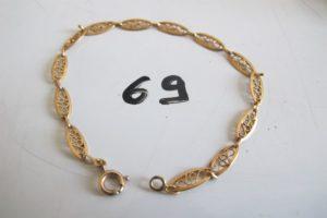 1 Bracelet en or maille filigranée (L18 cm).PB 2,9g