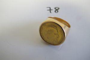 1 Chevalière en or orné d'une pièce en or de 20 frs Napoléon III tête nue(td63)PB 25,1g