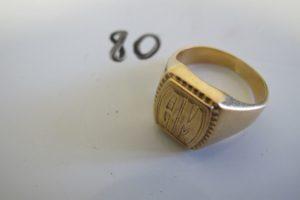 """1 Chevalière en or rehaussée des initiales """"am""""(td60).PB 15,3g"""