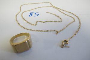 1 Chevalière en or plateau vierge(TD60),1 chaine en or maille alternée brisée (L58cm).PB 18,5g