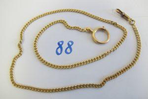 1 Giletière de montre en or maille gourmette(L54cm).PB 24,2g