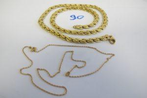 1 Collier en or maille festonnée(L45cm),1 chaine en or maille gourmette(L39cm). PB 22,9g