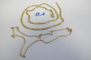 1 Collier en or maille alternée(L52cm) fermoir usagé, 1 chaine en or maille forçat(L37cm).PB 15,6g
