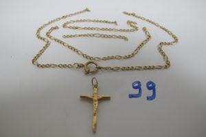 1 Croix en or,1 chaine en or brisée. PB 8,3g