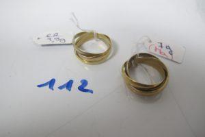 2 Alliances 3 ors 3 anneaux(td54). PB 10,9g