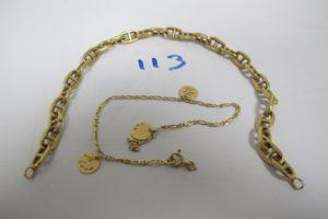 1 Lot casse tout or(1 bracelet maille marine manque fermoir/1 bracelet pampilles fermoir brisé).PB 10,3g