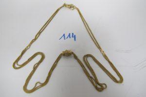 1 Giletière en or(L72cm) fermoir or et argent.PB 22g