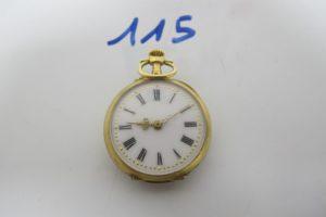 1 Montre de poche en or ancienne (HS) rehaussée de 5 pierres rouges(poinçon tête de cheval).PB 15,7g
