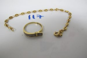 1 Bracelet en or maille grains de café (L18cm),1 bague en or ornée de petites pierres(td59).PB 6,7g