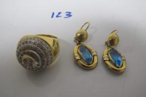 1 Bague 2 ors ornée de pierres blanches (td59),2 pendants en or rehaussées de pierres turquoises.PB 16,6g