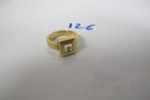 1 Bague en or ornée d'1 pierre blanche en mouvement(td51).PB 11,3g