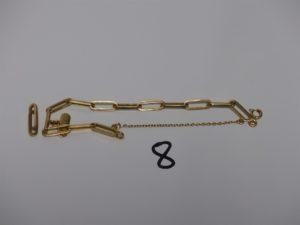 1 bracelet maille alternée en or ornée d'1 breloque gravée (L16cm) + 1 rallonge (fendue) en or. PB 10grs