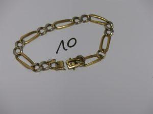1 bracelet maille alternée bicolore en or (L23cm). PB 28,7grs