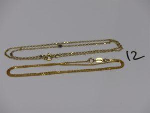 2 chaînes : 1 maille plate en 21K (fermoir en or,L40cm) et 1 maille jaseron en or (L42cm). PB 5,2grs
