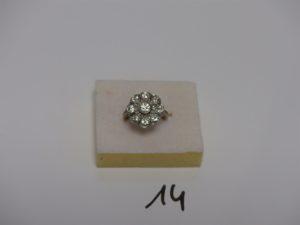 1 bague monture platine sertie de diamants TL ancienne et TL rose (Td51). PB 4,1grs