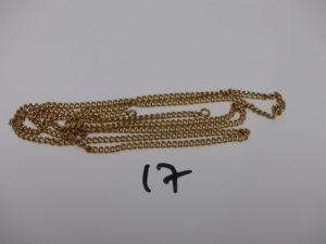 1 chaîne maille gourmette en or (L67cm, manque fermoir). PB 11,9grs