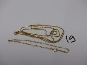 1 chaîne maille carrée cassée en or et 1 chaîne maille alternée en or (L16cm, 1 pau abîmé). PB 5,6grs