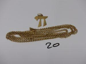 1 chaîne maille gourmette en or (L83cm) et 1 pendentif ouvragé en or. PB 23,6grs