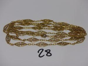 1 collier en or à motifs filigranés (L120cm). PB 42,1grs