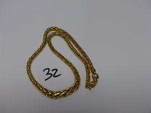 1 Collier maille palmier en or (L43cm). PB 18,8g