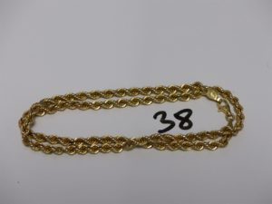 1 chaîne maille corde en or (L43cm). PB 7,5g