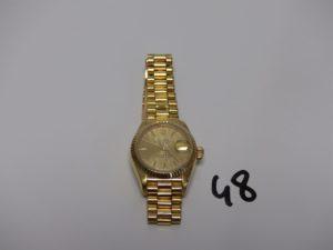 1 Montre ROLEX dame OYSTER date perpetual boitier et bracelet or (L22cm, réf 8570F) PB 74,3g
