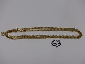 1 chaîne maille gourmette en or avec chaînette de sécurité (L62cm). PB 27,6g