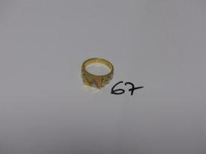 1 chevalière 3 ors ornée d'une petite petite pierre (td61). PB 11,1g