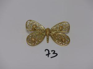 1 pendentif broche à décor d'un papillon(L6cm). PB 14,7g