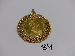 1 pendentif en or serti-griffes une pièce de 4 Ducats (diamètre 6cm). PB 24,9g