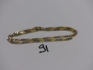 1 chaîne maille alternée bicolore en or (L48cm). PB 19,6g