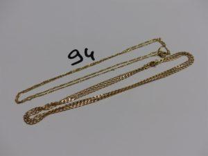 2 chaînes en or (1 maille gourmette L52cm et 1 fine maille alternée L50cm). PB 7,6g
