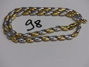 1 collier maille en épi bicolore (L46cm). PB 26,4g
