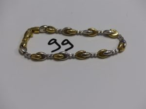 1 bracelet maille en épi bicolore montée sur chaîne (L18cm). PB 12,4g