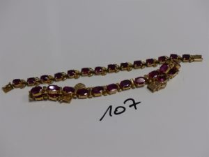 2 bracelets chenilles en alliage 14K serti-griffes de très nombreuses pierres roses (L14cm et L17cm). PB 28,5g