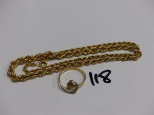 1 collier maille corde (L45cm) et 1 bague (manque perle au centre, td53). PB 15,8g