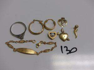 1 bracelet gourmette gravée (L14cm), 1 bague rehaussée d'une pierre usée (td54),1 pendentif coeur, 1 pendentif lettre F, 1 pendentif haricot, 1 pendentif coeur orné d'une perle, 1 créole à décor de petites croix et 1 créole ciselée. Le tout en or PB 9,4g