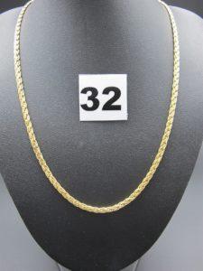 1 collier en or maille festonnée (L 40cm). PB 7,6g