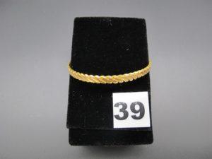 1 bracelet rigide tressé en or 22 K (diamètre 6,4cm). PB 18,4g